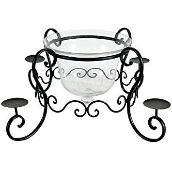 FantasticDecor Wrought Iron Candle Holder w/Glass Bell Jar