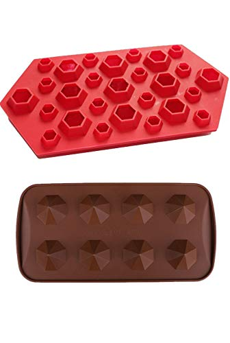 (2 Pack Combo 3D + Gem Diamonds Cool Ice Cube Chocolate Soap Tray Mold Silicone Party Maker (SHIPS FROM)