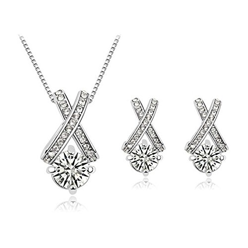 18k Gold Plated X Crossing Pendant Necklace and Stud Earrings Jewelry Set for Women Teen Girls (18k White Gold Diamond Pearl)
