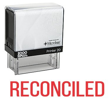 RECONCILED Office Self Inking Rubber Stamp - Red Ink (A-5373)