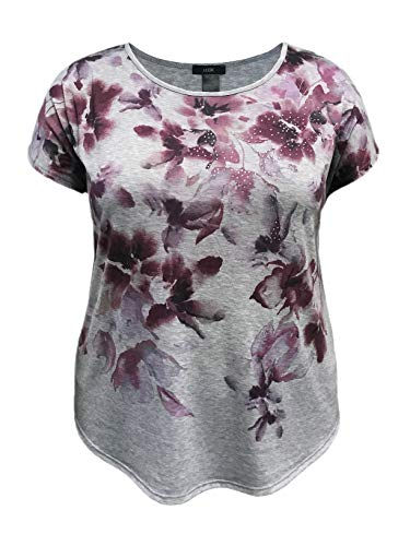 (LEEBE Plus Size Floral Print with Stones Top (1X, Heather Grey))