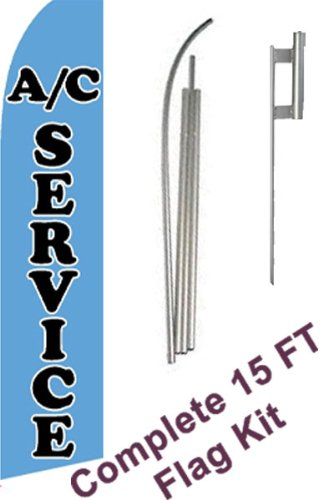"""NEOPlex - """"Air Conditioning Service"""" Complete Flag Kit - Includes 12' Swooper Feather Business Flag With 15-foot Anodized Aluminum Flagpole AND Ground Spike"""