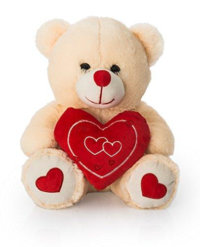 Dimpy Stuff Teddy Bear with Heart, Cream (34cm)