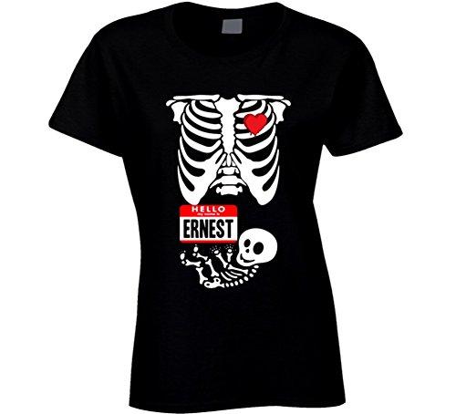 Baby Ernest Cute Halloween Custom Nametag Skeleton Costume T Shirt XL Black