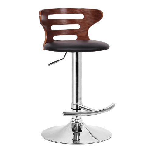 Baxton Studio SD-2019-walnut black-PSTL Buell Walnut and Black Modern Bar Stool 31.38 x 18 x 18