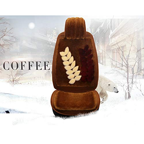 BOYH Winter Car Seat Cover Women's Fully Surrounded Plush Cushion (Golden Jade Leaf Style, Khaki),Coffee ()