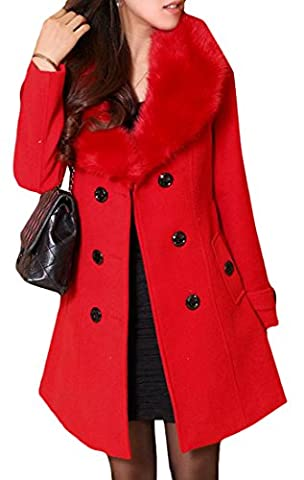 Pivaconis Womens Solid Winter Faux Fur Lapel Wool Blended Trench Coat Jacket Red XL - Zipper Trench
