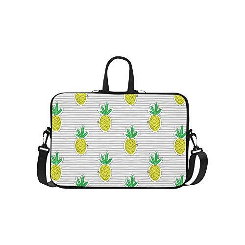 InterestPrint Cute Pineapple Juicy Fruit on Stripes 15 15.6 Inch Waterproof Neoprene Laptop Notebook Sleeve Shoulder Bag with Handle & Strap for Women -