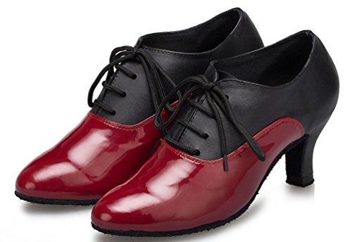 Abby Yfyc-l159 Mujeres Professional Latin Tango Cha-cha Kitten Zapatos De Baile De Cuero En Tacón Rojo