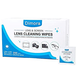 Lens Wipes - Dimora Pre Moistened Lens Cleaning Cloths for Glasses, Screens, Camera Lenses, Ultra Soft Cloths, Ammonia Free and no Harms to The Coated Lens or Glasses, 200 Individually Wrapped Wipes
