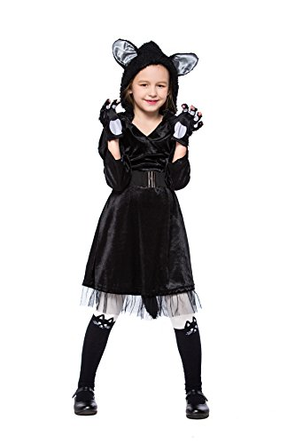 Joygown Girl's Cute Cat Hooded Halloween Party Fancy Dress Up Outfits L ()