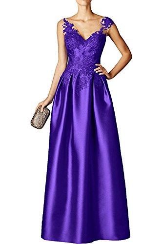 Damen Abendkleider La Jugendweihe Braut Applikation Partykleider Spitze Marie mit Ballkleider Violett Satin Kleid HwwXnFErq