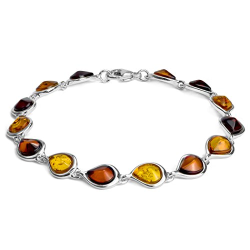 Multicolor Cherry Honey Amber Sterling Silver Teardrops Bracelet 7.5
