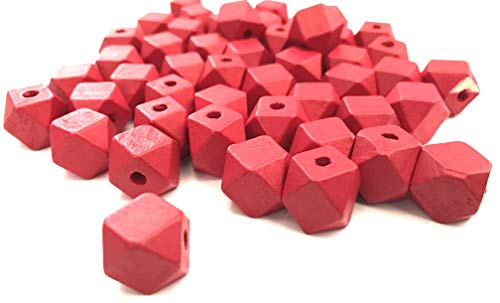 50 pcs Red Octagon Wood Beads 12mm Bead Jewelry Macrame Wooden Tool Square