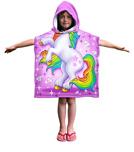 Dawhud Direct Kids Cotton Hooded Poncho Bath/Beach Towel (Unicorn) by Dawhud Direct