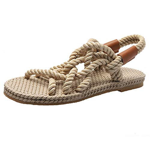 (JUSTWIN Women's Summer Casual Fashion StrapsRound Head Beach Shoes Open Peep Toe Lightweight Sandals Shoes Beige)