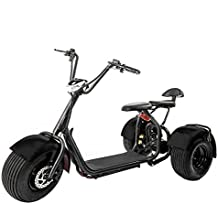 eDrift UH-ES395 Fat Tires 3-Wheel Electric Chopper Trike Scooter Moped with Shocks Harley E-Bike