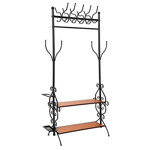 Freestanding All-In-One Metal Garment Clothing & Shoe Organizer Hanger Rack Stand w/ Coat Hat Hooks / 2 Wood Shelves / Umbrella Holder