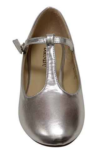 Anna Triss-23 Scarpe Basse Da Donna Con Cinturino Regolabile Con Cinturino Alla Caviglia E Tacco Medio In Vernice Argento