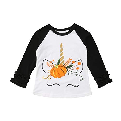 Toddler Baby Kids Girl Unicorn Pumpkin Print Long Sleeve Cotton T-Shirt Top (5 T, White)