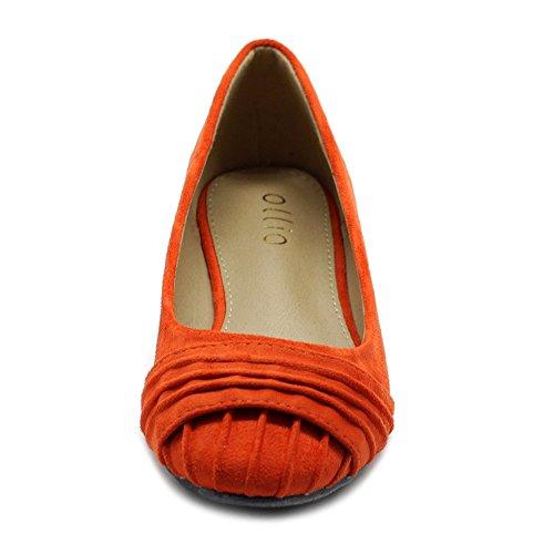 Ollio Womens Shoes Faux Suede Pleated Muliti Color Comforts Ballet Flat Orange wzFw93