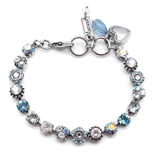 Mariana Italian Ice Swarovski Crystal Silvertone Bracelet Blue Clear Mix Mosaic 125 (Swarovski Ice Flower)