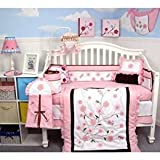 SOHO Love Butterfly Story Crib complete Nursery Bedding Set with Diaper Bag PLUS FREE PINK BABY CARRIER ( for limited time offer only)