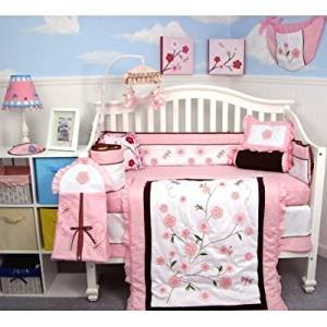 SOHO Love Butterfly Story Crib complete Nursery Bedding Set with Diaper Bag PLUS FREE PINK BABY CARRIER ( for limited time offer (Baby Bedding Diaper Stacker)