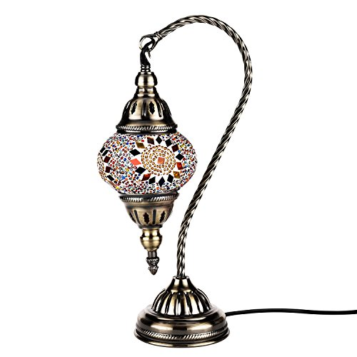 (Kindgoo Turkish Moroccan Mosaic Lamp Handmade Glass Bedside Lamp Decorative Elegant Swan Neck for Living Room Coffee Table with Bronze Base (Multi-Colored))