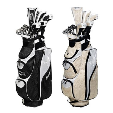 Tour Edge Ladies Moda Silk Champagne Golf Set (1-3-5 WD, 5-6 HY, 7-8 IW, 9-SW IR, Putter and Bag -1 Inch), Outdoor Stuffs