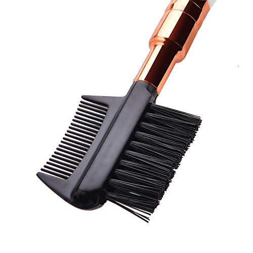 JASSINS Brow & Lash Comb Spoolie Brush+Dual Eye Shadow Brush Kit, Professional Eyebrow Eye Makeup Tool