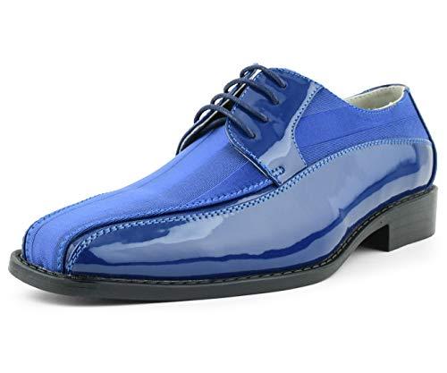 (Amali Men's Lace Up Tuxedo Oxford with Statin Striped Design Oxford Dress Shoe, Style Avant Royal Blue)