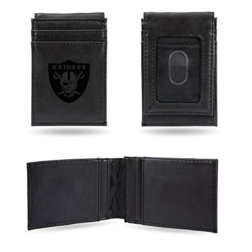 Rico Industries NFL Oakland Raiders Laser Engraved Front Pocket Wallet, Black