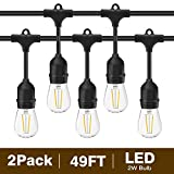 covered porch ideas Svater 2 Pack S14 LED String Lights 49Ft Waterproof IP65 Commercial Grade Outdoor String Light UL Listed 15 Hanging Sockets 15 S14 2W LED Bulbs E26 Base Warm White 2700K Open-air party Patio