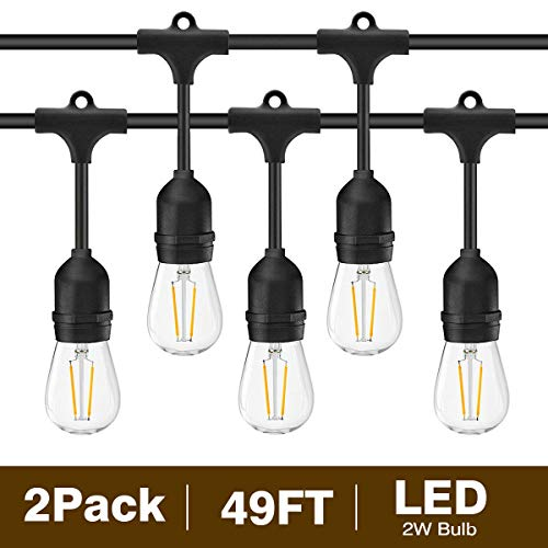 (Svater 2 Pack S14 LED String Lights 49Ft Waterproof IP65 Commercial Grade Outdoor String Light UL Listed 15 Hanging Sockets 15 S14 2W LED Bulbs E26 Base Warm White 2700K Open-air Party Patio)