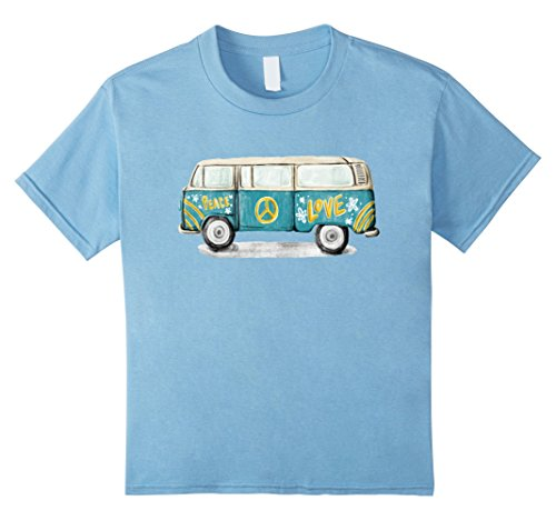 60s Shirt (Kids Vintage Hippie Bus T-Shirt - Peace & Love of the 60s 70s 12 Baby Blue)