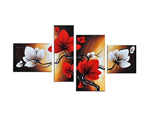 Bedroom Bed Canvas - Noah Art-Modern Flower Artwork, Spring Blooming Tulip Flowers Pictures 100% Hand Painted Flower Oil Paintings on Canvas, 4 Panel Framed Red Flower Wall Art for Bedroom Home Decorations