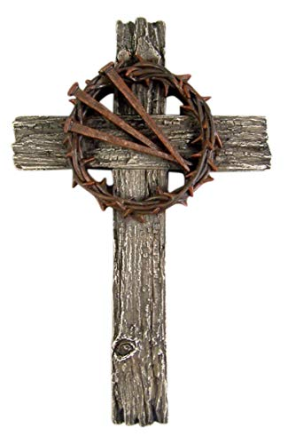 Religious Cross with Thorn Crown and Nails 13 1/2 Inch ()