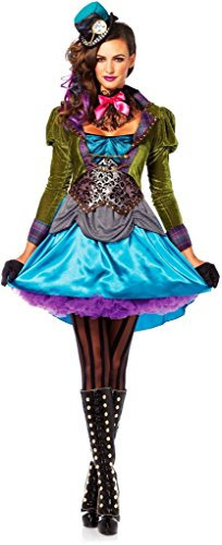 Deluxe Mad Hatter Alice in Wonderland Dress Outfit Women Halloween Fancy Costume Large