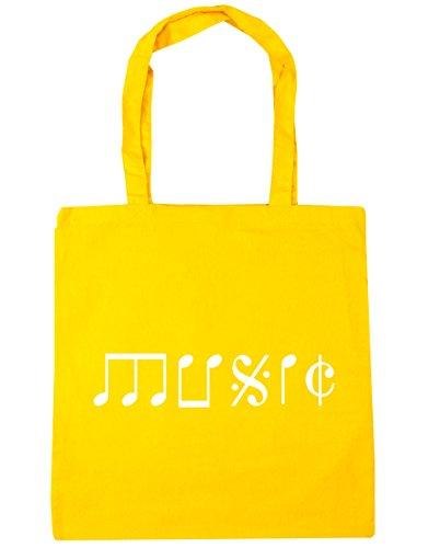 Music Yellow litres Tote Note 10 Shopping 42cm Beach x38cm Bag Gym Type HippoWarehouse B7dqSwd
