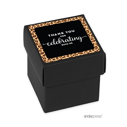 Andaz Press Birthday Mini Square Party Favor Box DIY Kit, Thank You for Celebrating With Us, Leopard Cheetah Print, 20-Pack, For Decor Decorations Dessert Table Gifts