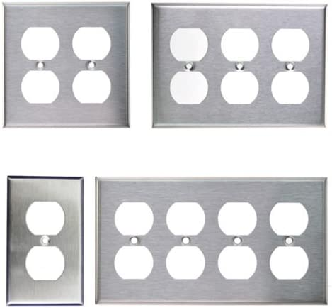NEW 2-Gang Standard Duplex Outlet Brushed Stainless Steel Wall Plate 1 pc