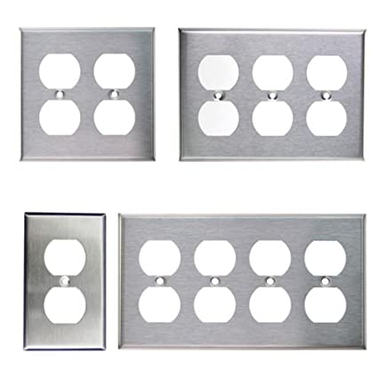 Brushed Stainless Steel Outlet Cover Duplex Metal Wall Plates 1 2 3
