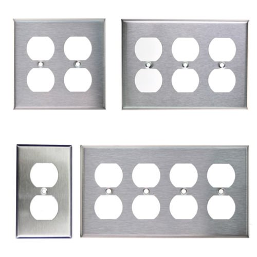 eel Outlet Cover Duplex Metal Wall Plates 1 2 3 4 Gang (2 Gang) ()