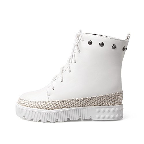 with Solid High Rivet Closed Women's WeiPoot Material Low Round Toe Top Heels Soft Boots White qYU4g7xC