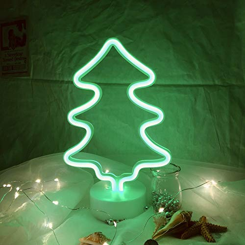 Hopolon Christmas Tree Neon Signs, LED Neon Light Sign for Party Supplies Girls Room Decoration Accessory for Luau Summer Party Table Decoration Children Kids Gifts (Green Christmas Tree with Holder)