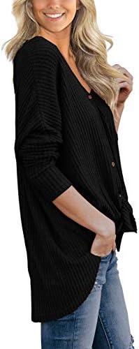 IWOLLENCE Womens Waffle Knit Tunic Blouse Tie Knot Henley Tops Loose Fitting Bat Wing Plain Shirts 3