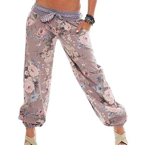 iYYVV Womens Ladies Floral Printed Pocket Trousers Baggy Legging Plus Size Long Pants