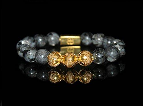 Men's Labradorite Bracelet, Labradorite and 22 Karat Gold Plated Sterling Silver Beads Bracelet, Men's Luxury Bracelet by Kartini Studio