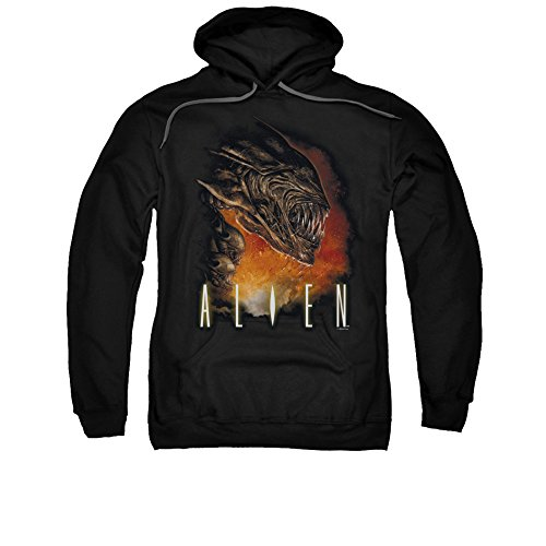 Unique Vintage ALIEN/FANGS-ADULT PULL-OVER HOODIE-BLACK-3X High Quality desiqn